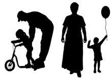 Vectorsilhouet van familie Stock Afbeeldingen