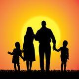 Vectorsilhouet van familie Royalty-vrije Stock Afbeelding