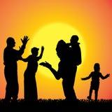 Vectorsilhouet van familie Stock Foto