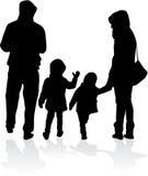 Vectorsilhouet van familie Stock Afbeelding