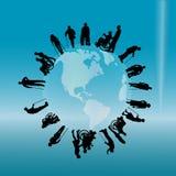 Vectorsilhouet van gehandicapten Royalty-vrije Stock Afbeelding