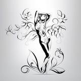 Vectorsilhouet van het meisje in de bladeren Stock Foto