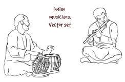 Vectorsilhouet van Indische musicus royalty-vrije illustratie