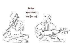 Vectorsilhouet van Indische musicus vector illustratie