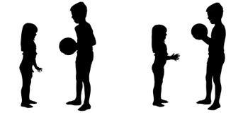 Vectorsilhouet van kinderen Stock Foto
