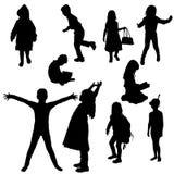Vectorsilhouet van kinderen Stock Fotografie