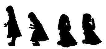 Vectorsilhouet van meisje Royalty-vrije Stock Fotografie