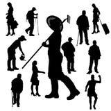 Vectorsilhouet van mensen Stock Fotografie