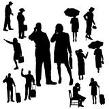 Vectorsilhouet van mensen Stock Afbeeldingen