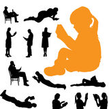 Vectorsilhouet van mensen Stock Afbeelding