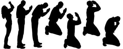 Vectorsilhouet van mensen die bidden Stock Foto