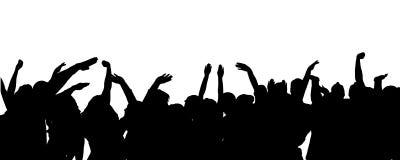 Vectorsilhouet van mensen die dansen Stock Foto's