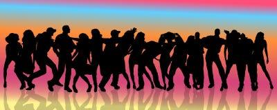 Vectorsilhouet van mensen die dansen stock illustratie