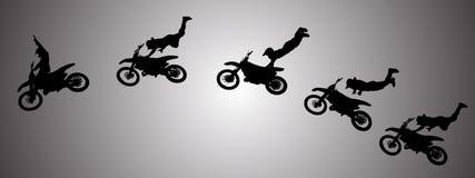 Vectorsilhouet van motocross Stock Afbeeldingen
