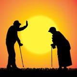 Vectorsilhouet van oude mensen Royalty-vrije Stock Afbeeldingen