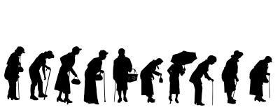 Vectorsilhouet van oude mensen Stock Afbeeldingen