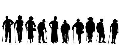 Vectorsilhouet van oude mensen Royalty-vrije Stock Foto's