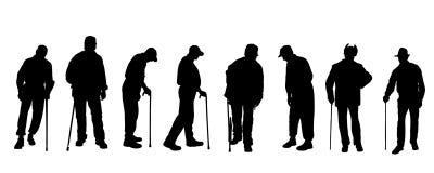 Vectorsilhouet van oude mensen Stock Afbeelding