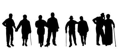Vectorsilhouet van oude mensen Royalty-vrije Stock Foto