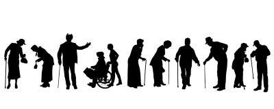 Vectorsilhouet van oude mensen Royalty-vrije Stock Fotografie