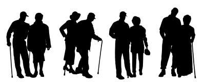 Vectorsilhouet van oude mensen Stock Foto