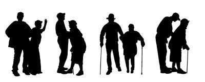 Vectorsilhouet van oude mensen Stock Fotografie