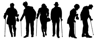 Vectorsilhouet van oude mensen royalty-vrije illustratie