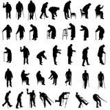Vectorsilhouet van oude mensen Stock Foto's