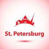 Vectorsilhouet van St. Petersburg, Rusland stock illustratie