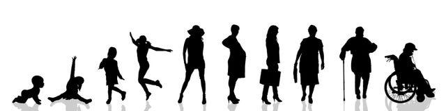 Vectorsilhouet van vrouw Stock Foto's