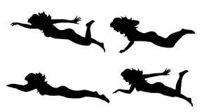 Vectorsilhouet van vrouw die zwemmen stock illustratie