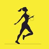 Vectorsilhouet van vrouwelijke sprinter Ochtend het lopen Meisje met Stock Fotografie