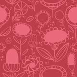 Vectorsilhouet volks bloemen naadloos patroon vector illustratie