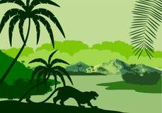 Vectorsilhouetillustratie van tropisch meer met bergen, bomen en luipaardensilhouetten in het moerasland van het wildernisregenwo royalty-vrije illustratie