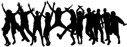 Vectorsilhouetten van dansende mensen. Stock Fotografie