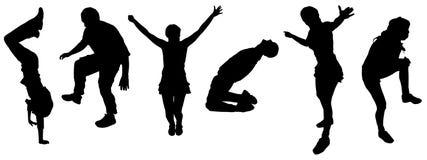 Vectorsilhouetten van dansende mensen. Stock Afbeelding