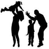 Vectorsilhouetten van dansende mensen. Royalty-vrije Stock Fotografie
