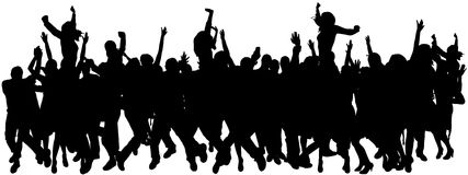 Vectorsilhouetten van dansende mensen. Stock Foto's
