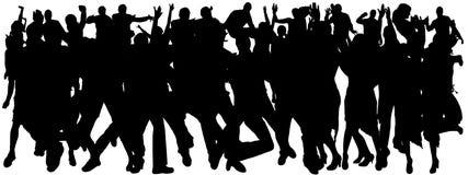 Vectorsilhouetten van dansende mensen Stock Fotografie