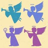 Vectorsilhouetten van engelen op een lichte achtergrond stock illustratie