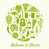 Vectorsilhouetten van het Mexicaanse nationale symbool Royalty-vrije Stock Afbeelding