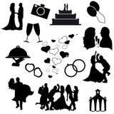 Vectorsilhouetten van huwelijkspictogrammen Stock Foto's