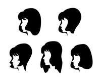 Vectorsilhouetten van meisjes Stock Afbeelding