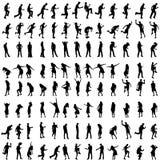 Vectorsilhouetten van mensen Stock Afbeeldingen