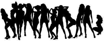 Vectorsilhouetten van sexy vrouwen Royalty-vrije Stock Afbeeldingen