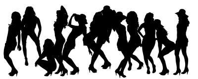 Vectorsilhouetten van sexy vrouwen Royalty-vrije Stock Foto