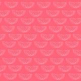 Vectorsilhouetten van watermeloenpatroon op een rode achtergrond Stock Fotografie