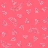Vectorsilhouetten van watermeloenpatroon op een rode achtergrond Royalty-vrije Stock Afbeelding