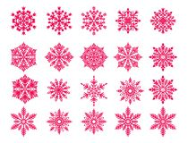 Vectorsneeuwvlok vastgestelde rode die sneeuwvlok s op wit wordt geïsoleerd vector illustratie