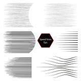 Vectorsnelheidslijnen Een reeks verschillende eenvoudige zwarte lijnen Zwarte elementen voor ontwerp van de strippagina Horizonta stock illustratie